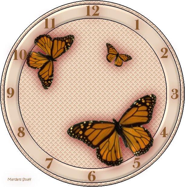 Часы вышивка с бабочками