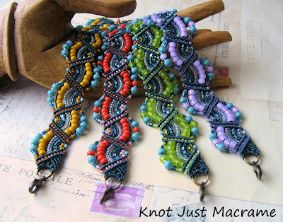 Four color variations of a micro macrame bracelet by Sherri Stokey of Knot Just Macrame.