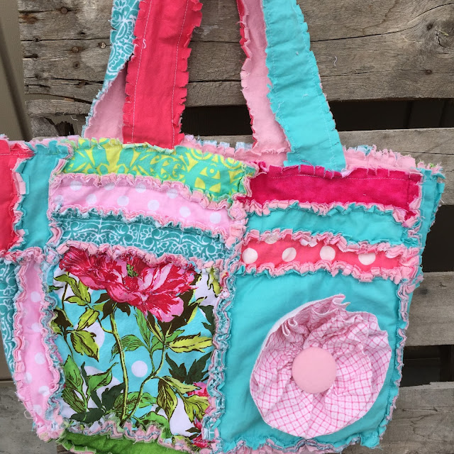 Rag Purse Diaper Bag with Ruffle Flower in Aqua and Pink for Baby Girl by A Vision to Remember