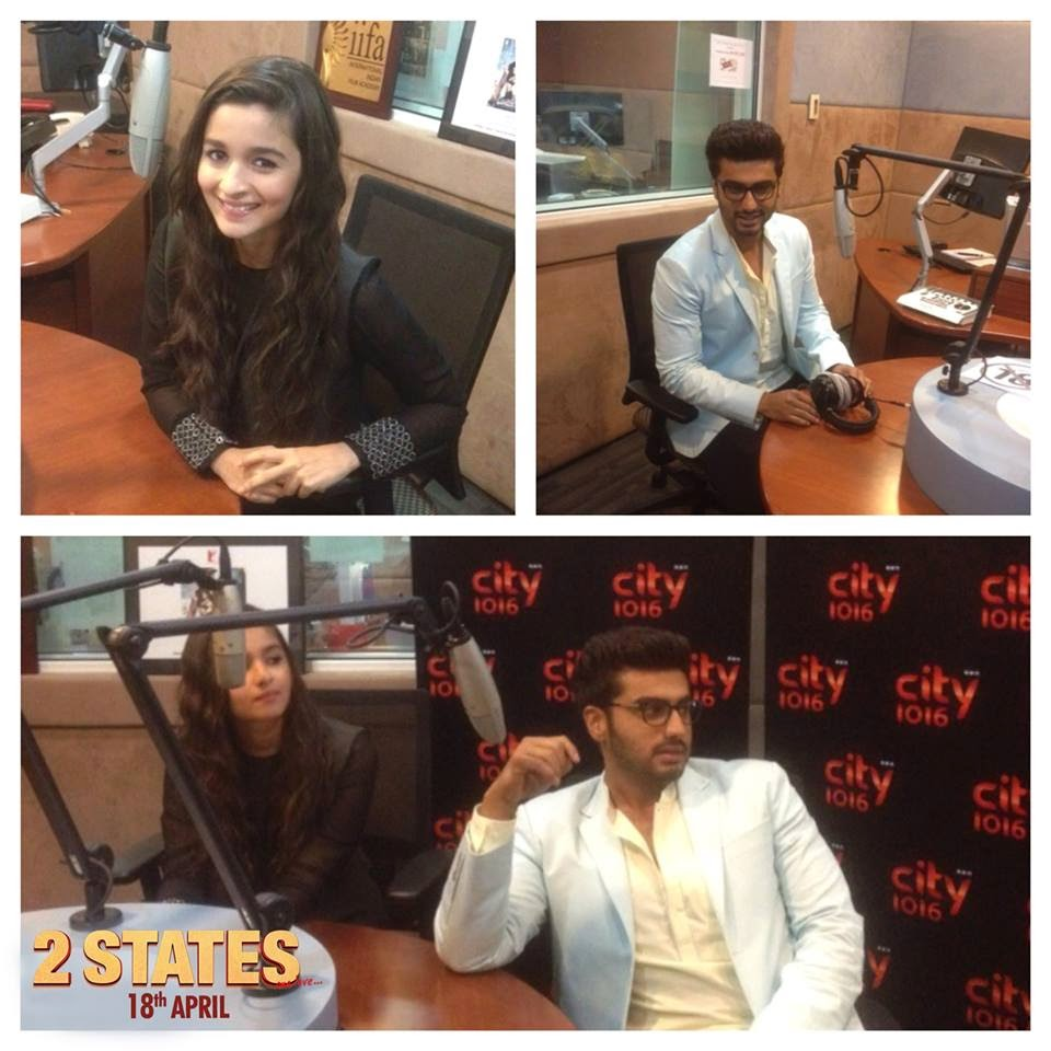 Exclusive image of Alia & Arjun from the City FM Radio, Dubai.