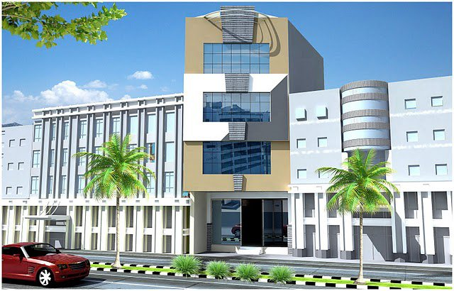 Front Elevation of Commercial Plaza & Tower - Architectural Design