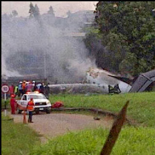 Breaking News: Plane Carrying Agagu's Body Enroute Akure Crashes In Lagos