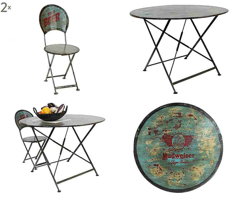 Metalowe krzesło, metalowy stół, industrialne meble, meble na balkon,  stół okrągły na balkon