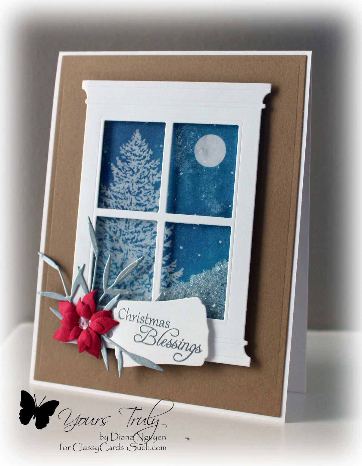 Yours Truly CCNS113 White Christmas Shaker Card