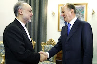Iranian Foreign Minister Ali Akbar Salehi (L) meets with Russian Security Council Secretary Nikolai Patrushev in the Iranian capital Tehran on August 16.