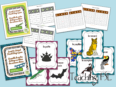Photo of Insect and Animal French Bingo game with two levels with 40 unique cards each and a set of flashcards or posters