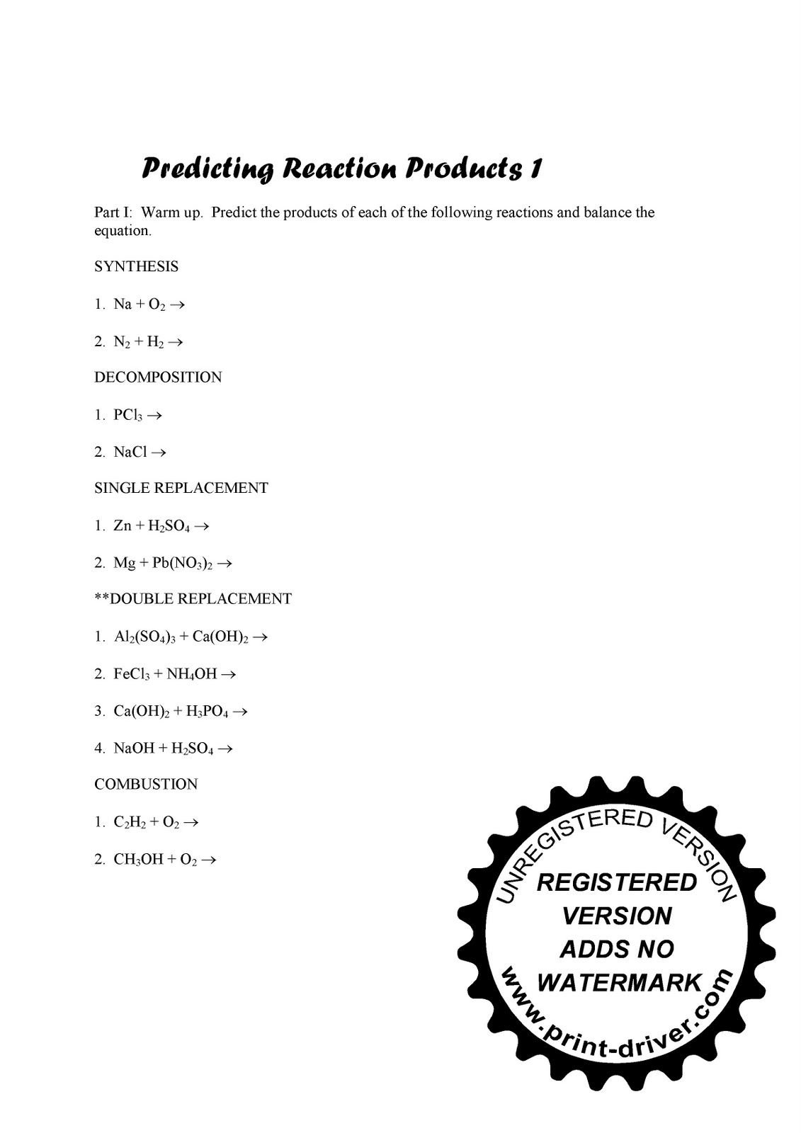 Reaction Products Worksheet Answers Sharebrowse – Predicting Products Worksheet Answers