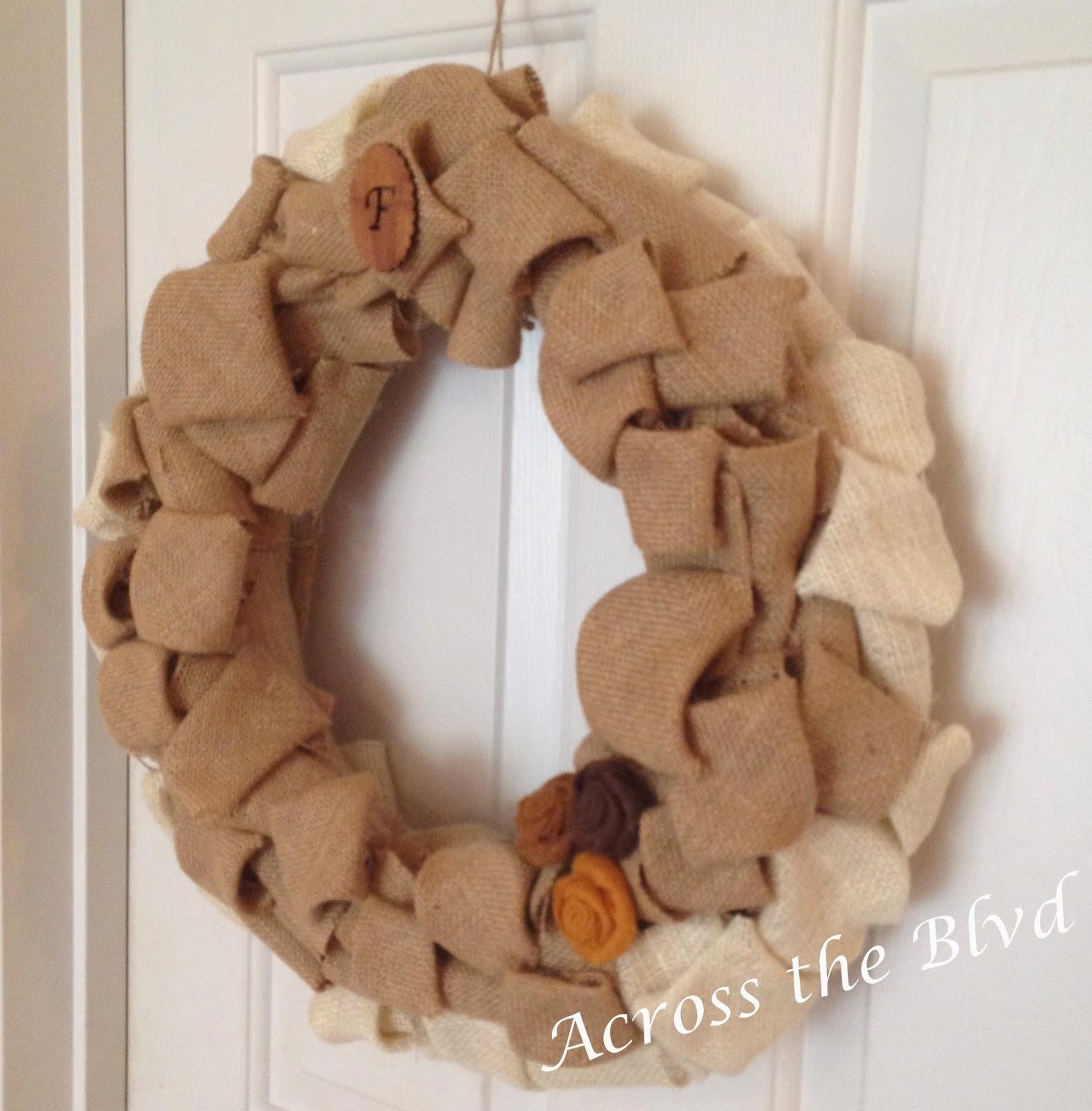 Burlap Squares Wreath