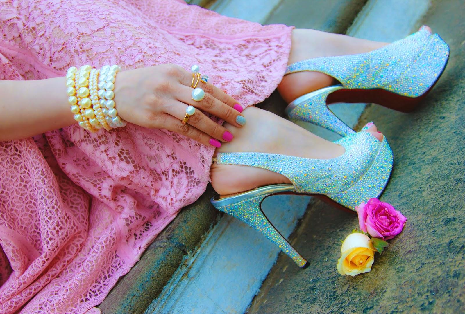 Christian Louboutin Crystal embellished heels, pearl bracelets, pearl rings
