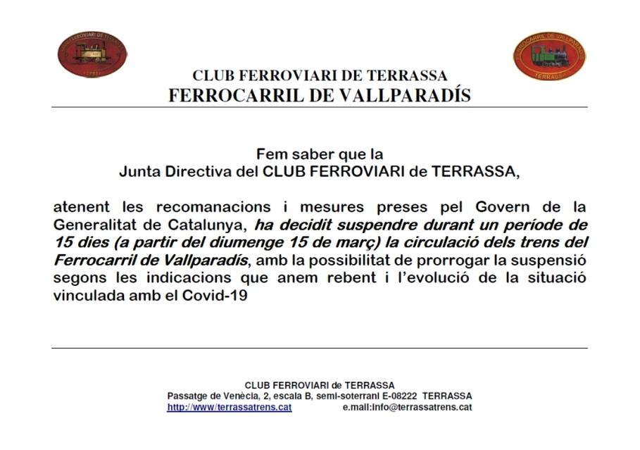Supressió de Circulacions al F.C. de Vallparadís