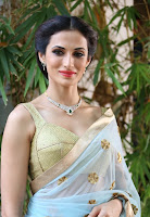 Shilpa Reddy beautiful Light Blue Saree and orngaments Spicy Deep Neck Blouse