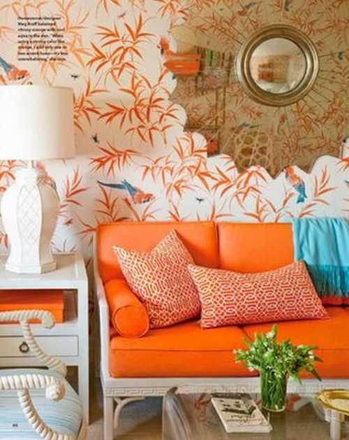 Orange And Turquoise Living Room With Floral Print Wallpaper