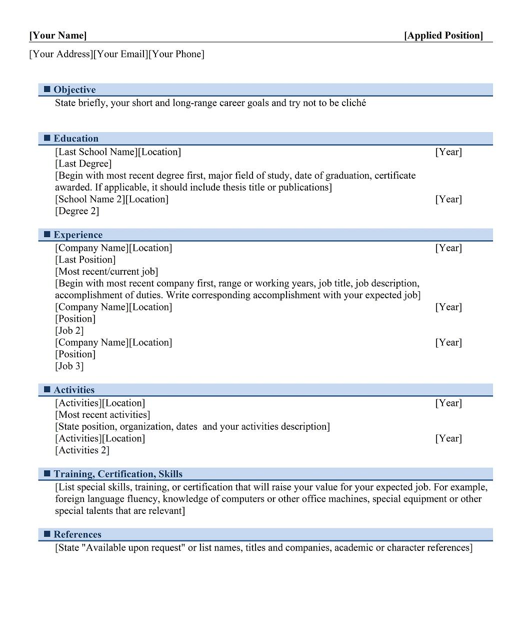 Chronological Example For Graduates. Chronological Resume 3  Reverse Chronological Resume Template