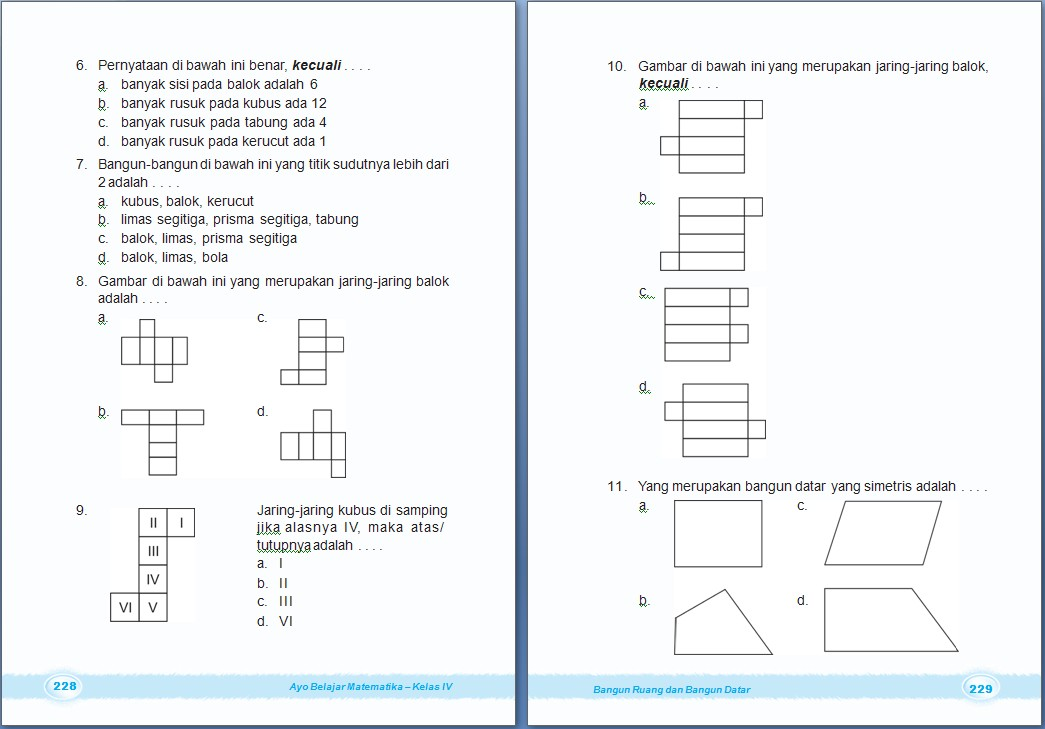 MATEMATIKA : Bangun Ruang dan Bangun Datar  Bab 8 Kelas 4 SD  dan Glosari Matematika Kelas 4