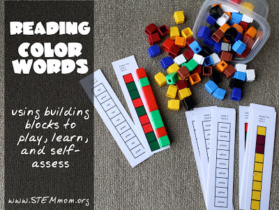 Reading Color Words Activity: Building Blocks to play, read, and self assess: from STEMmom.org