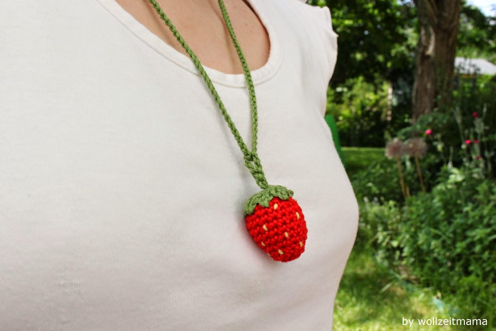 Erdbeeren häkeln für Kinderküche und Halskette, Anleitung