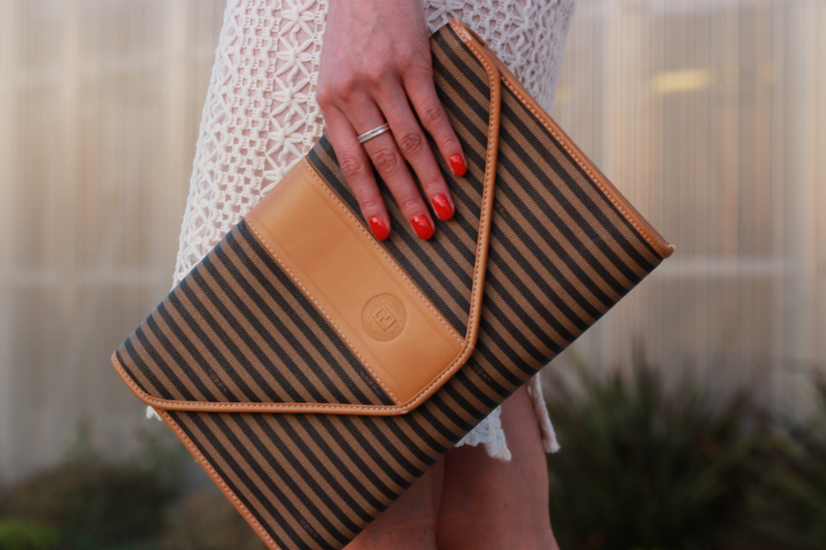 vintage stripe fendi clutch