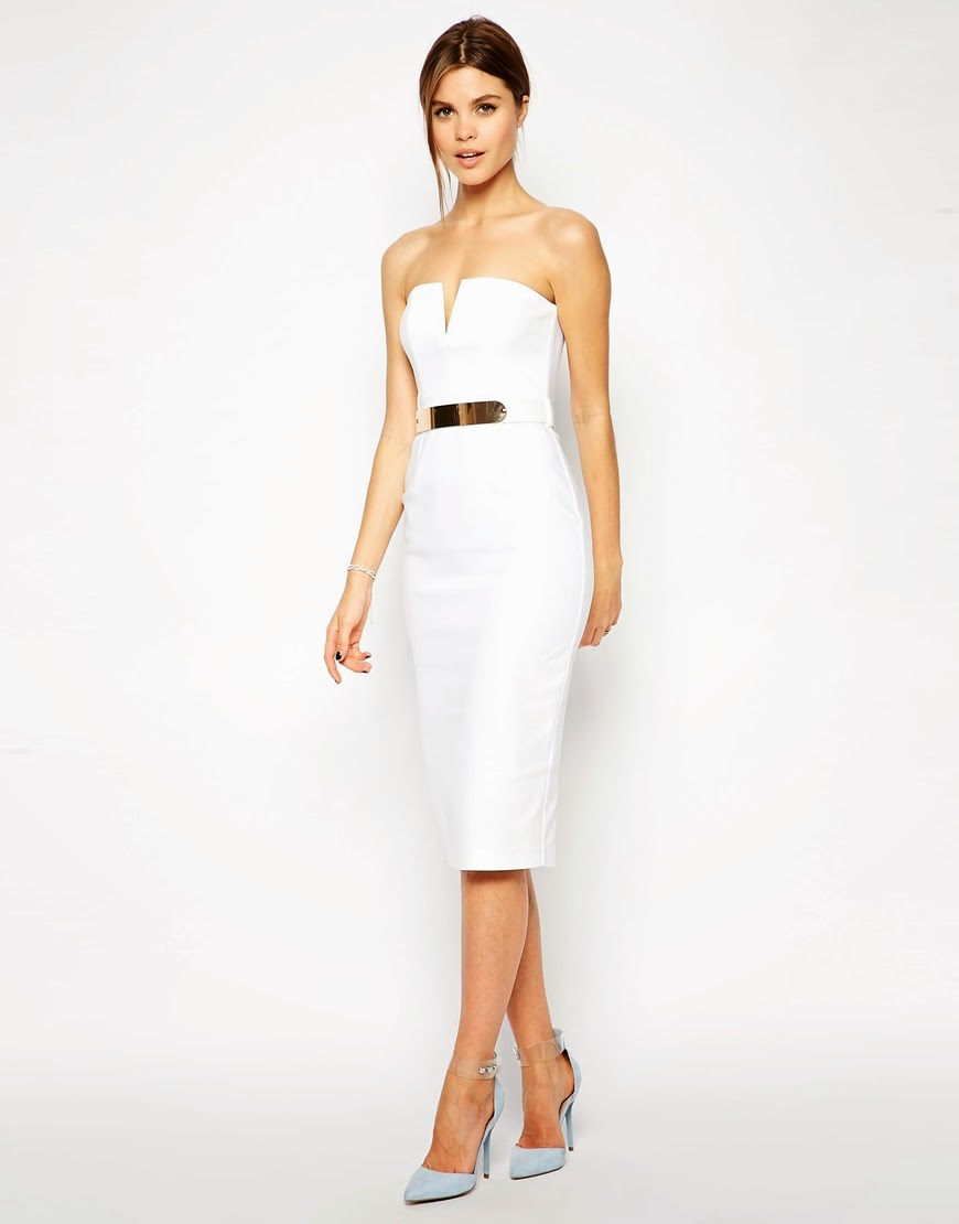 white bandeau dress with gold belt