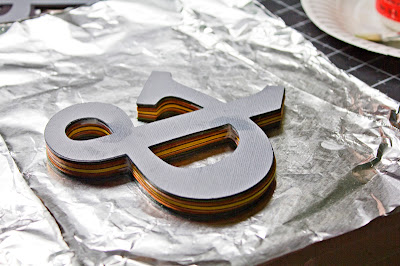 Tutorial for cardstock ampersand, lots of layers of cardstock with Mod Podge