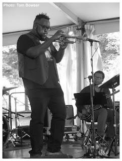 Marquis Hill - Jeff Parker - Makaya McCraven Quartet - 2015 Chicago Jazz Festival   Photograph by Tom Bowser
