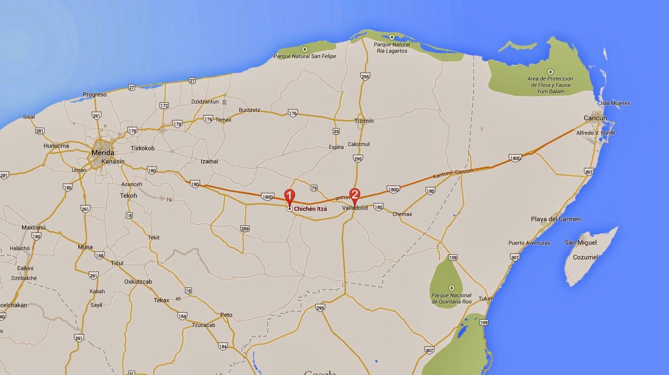 Mapa día 1 Viaje a la Riviera Maya