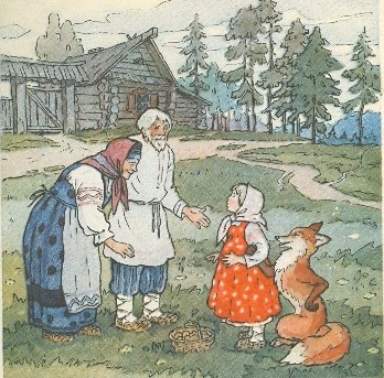 The girl and the fox Russian folk tale