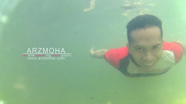 selfie, gambar dalam air, taman rimba pulau pinang, arzmoha, underwater selfie,