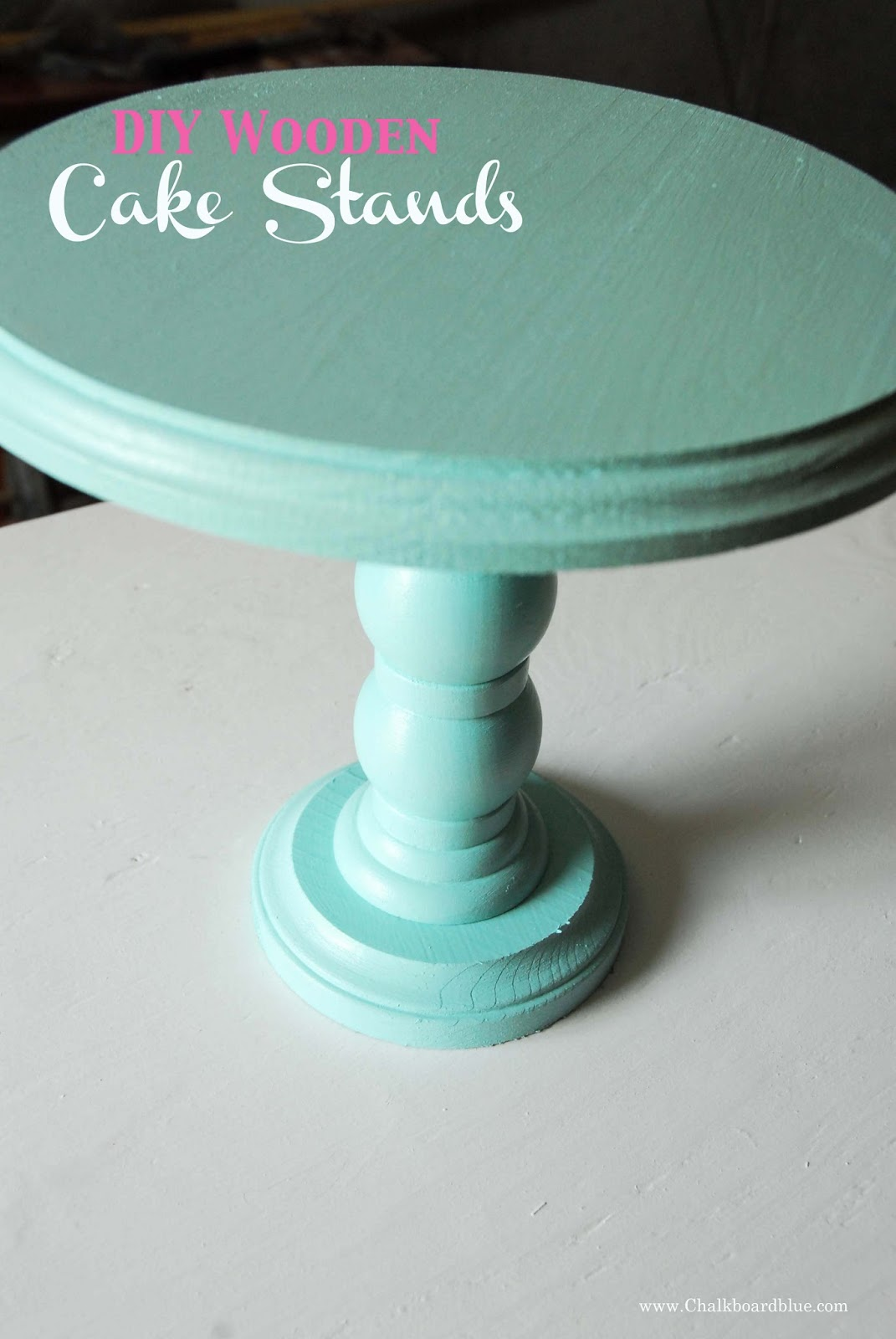 chalkboard blue diy wooden cake stands. Black Bedroom Furniture Sets. Home Design Ideas