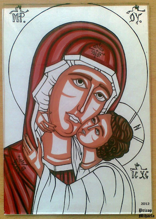 Icoana bizantina cu Maica Domnului si Pruncul Iisus - etapa a 2-a