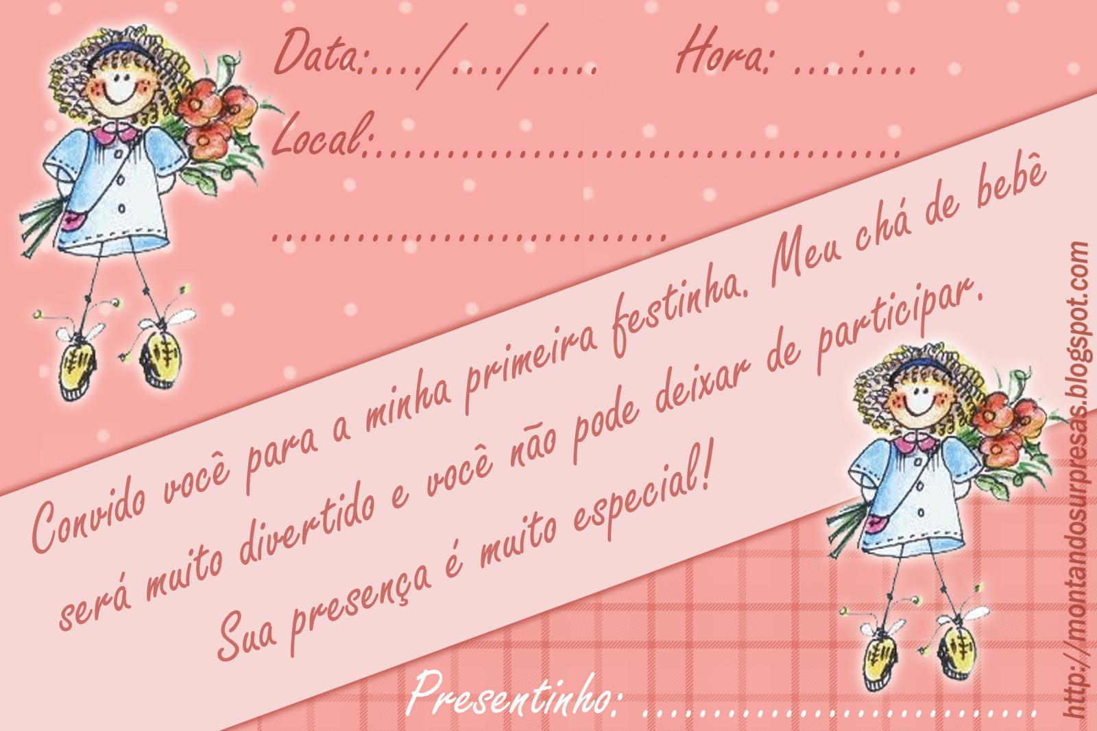 Convite delicado gratuito - Chá de bebê menina