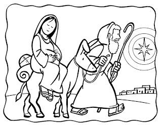 San José y la Virgen María para colorear
