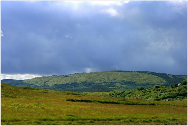 Connemara landscape, green grass, mountains and clouds
