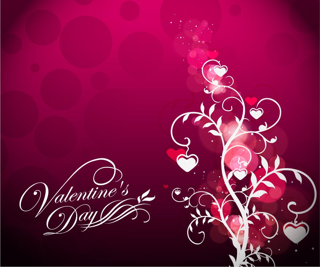 ハートの花が咲くバレンタインデーの植物柄背景 Valentine's Day Floral on Red Background イラスト素材