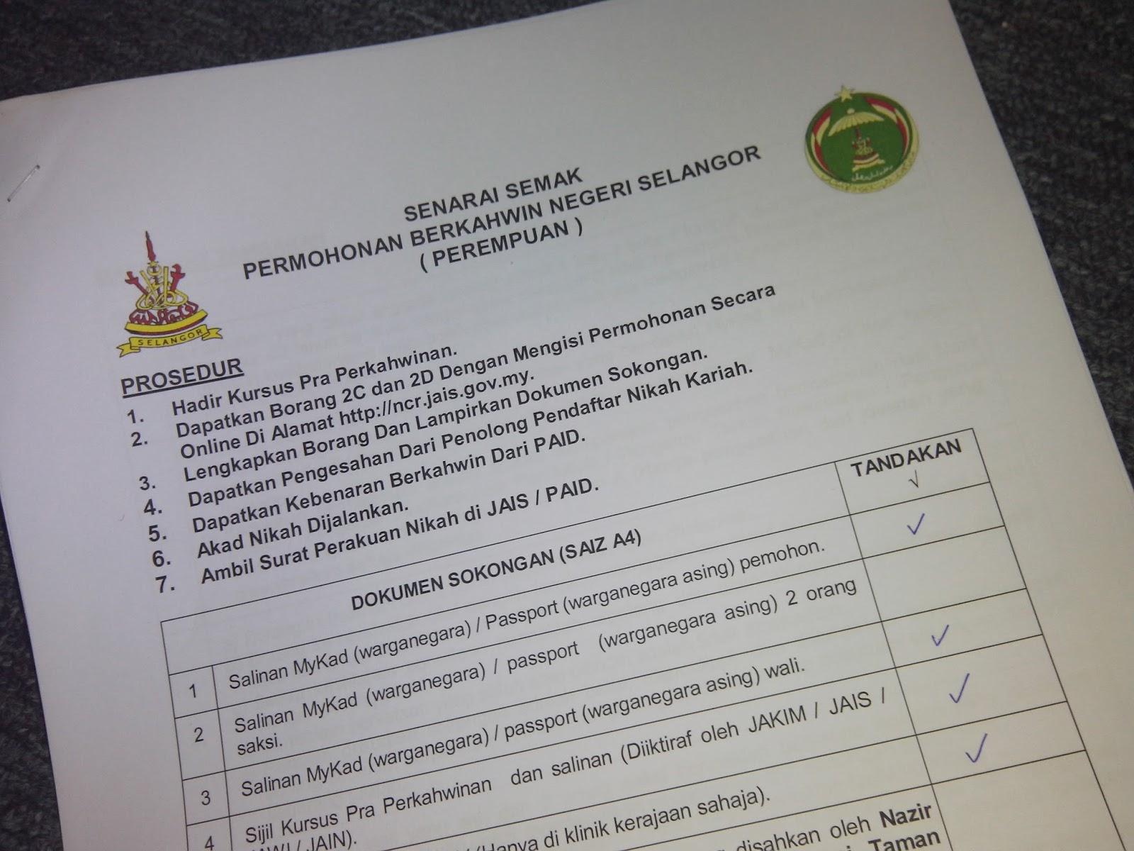 Prosedur Permohonan Kahwin Selangor