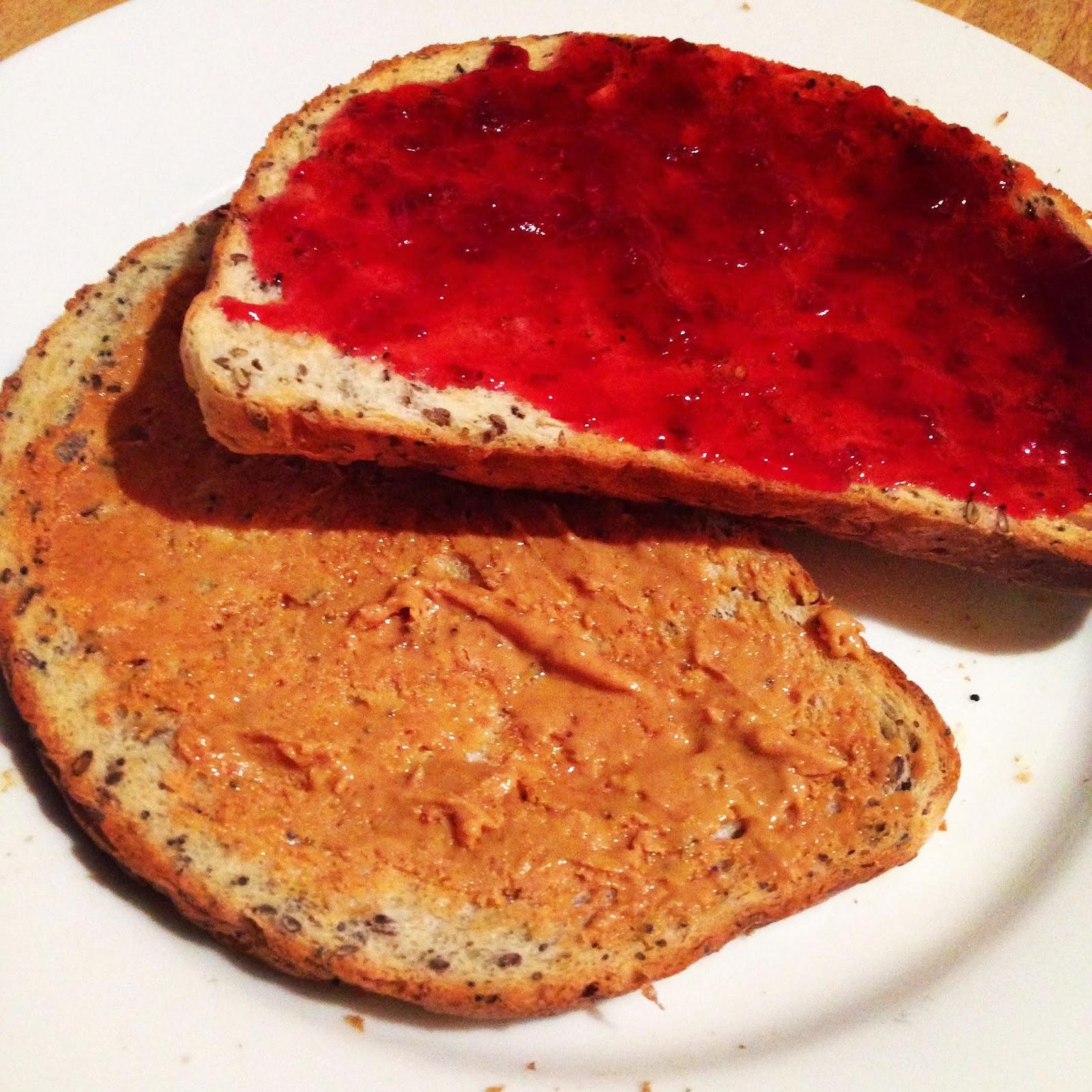 PB & J on toast breakfast of champions