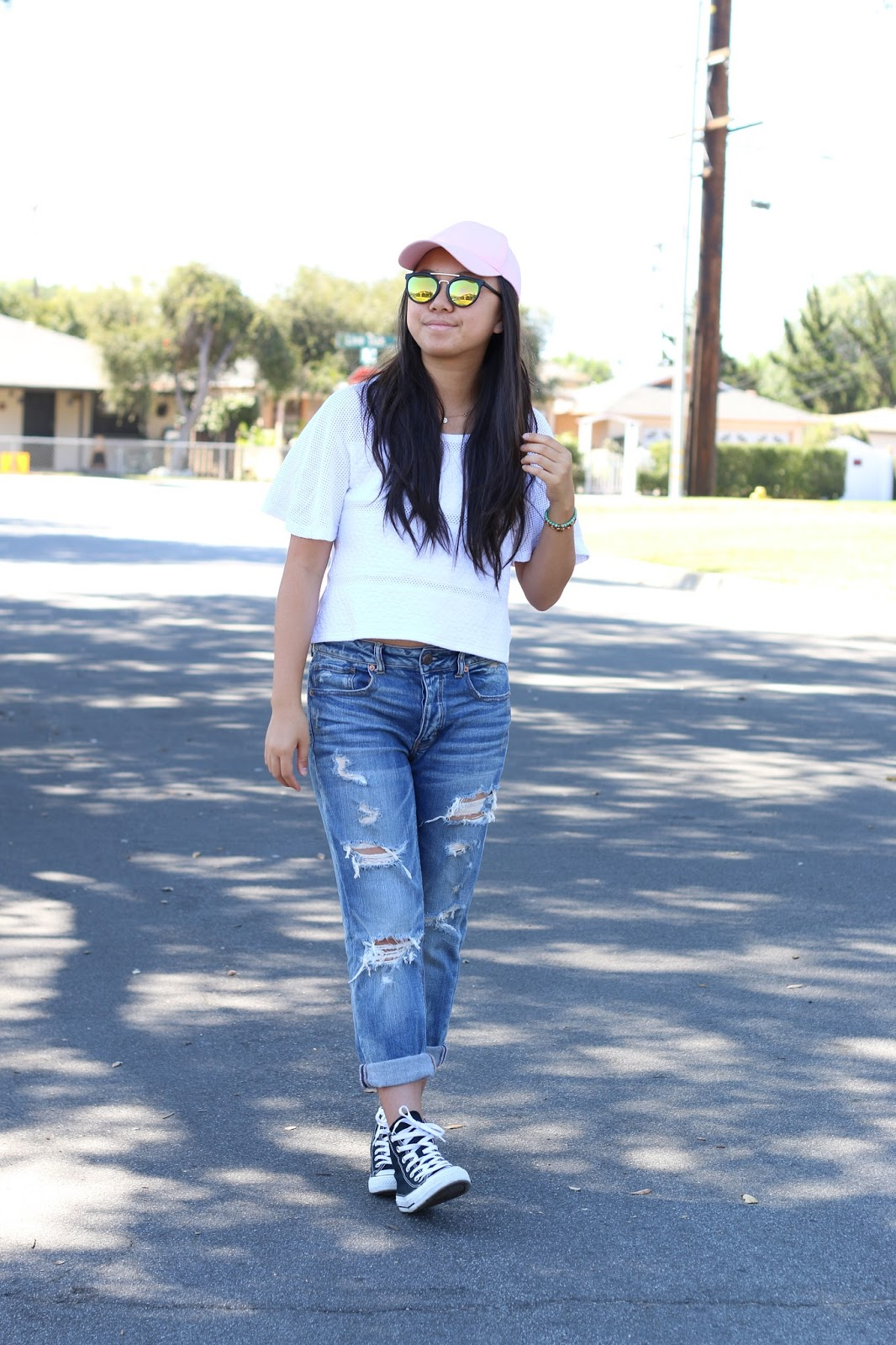 outfit of the day, outfit, style, american eagle, pink hat, fashion blogger
