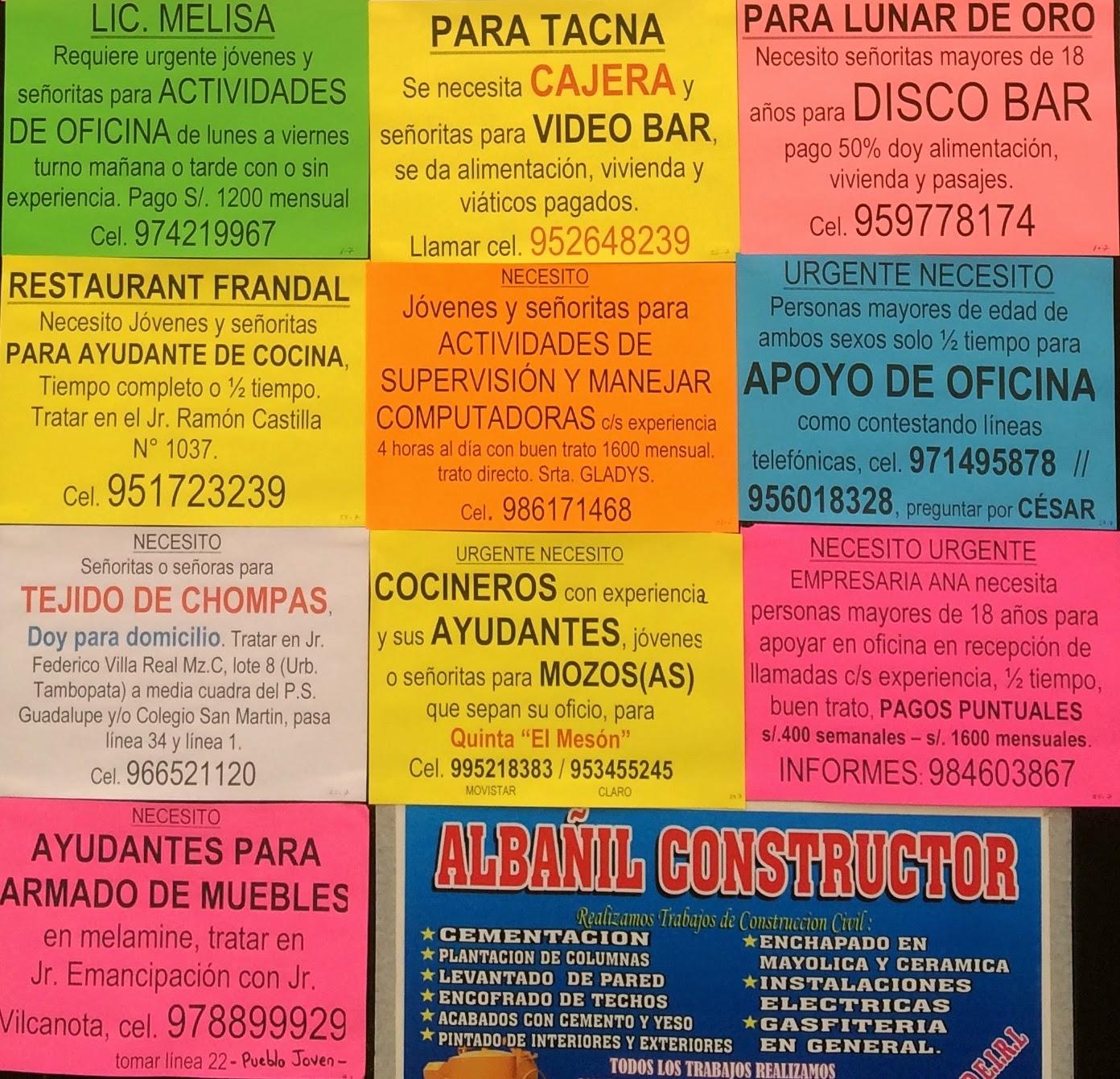 Busco trabajo juliaca anuncios 28 de mayo for Busco trabajo ayudante de cocina