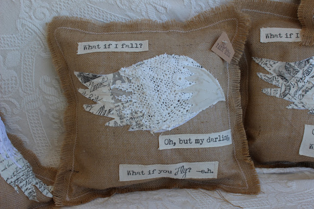 burlap pillow with quote and wing