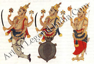 Three avatars of Vishnu (from left to right): Matsya, Karma and Parsurania.