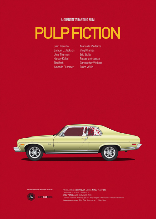 Carros famosos do cinema em posters minimalistas - Jesús Prudencio - Pulp Fiction