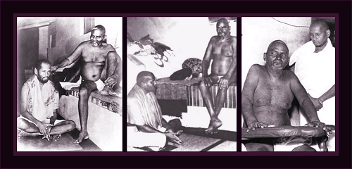 Muktananda at the feet of his guru, Nityananda