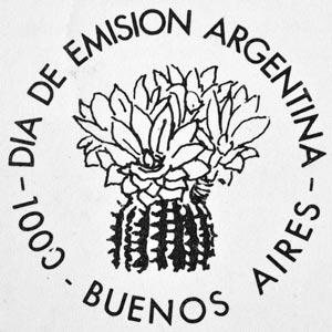 Viñeta del matasellos día de emisión: flor de cactus