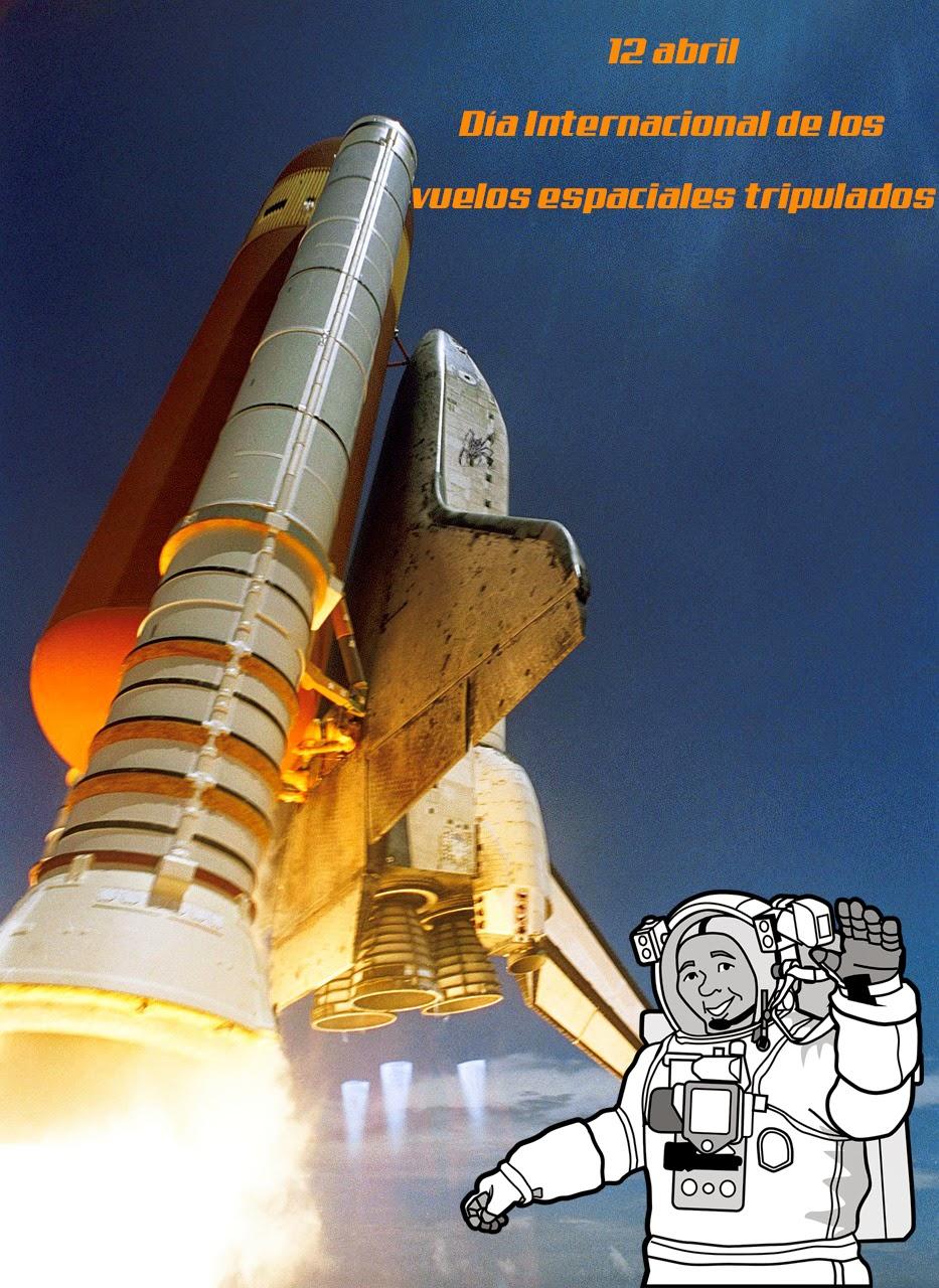 El despegue de un transbordador y el dibujo de un astronauta