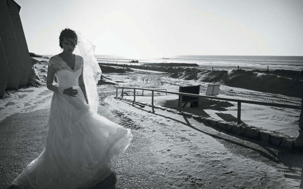 Isabeli Fontana wearing Alberta Ferretti photographed by Peter Lindbergh for Vogue Paris April 2012