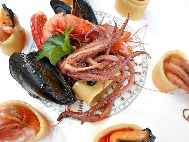 calamarata di pesce e chardonnay cantina aldeno