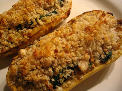 Eggs on Sunday's Roasted Delicata Squash Stuffed with White Beans and Wilted Spinach with Basil