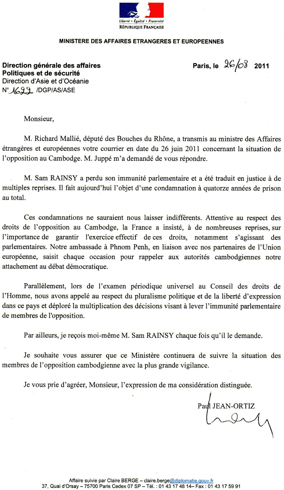 Ki media letter from the french ministry of foreign and european letter from the french ministry of foreign and european affairs concerning opposition leader sam rainsys case spiritdancerdesigns Image collections