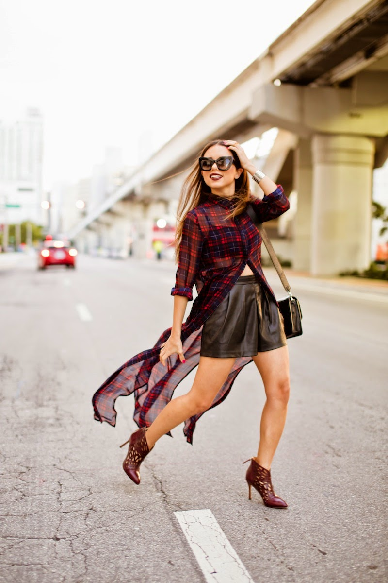 miami fashion blogger, fashion blogger, nany's klozet, daniela ramirez, how to wear, fashion trends,  plaid, leather shorts, cat eye sunglasses
