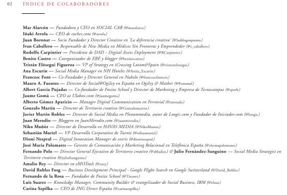 """Imagen """"Autores del Documento Colaborativo sobre Social Business"""" - Fuente: Página 3 de http://www.slideshare.net/FoxizeSchool/socialbusiness"""