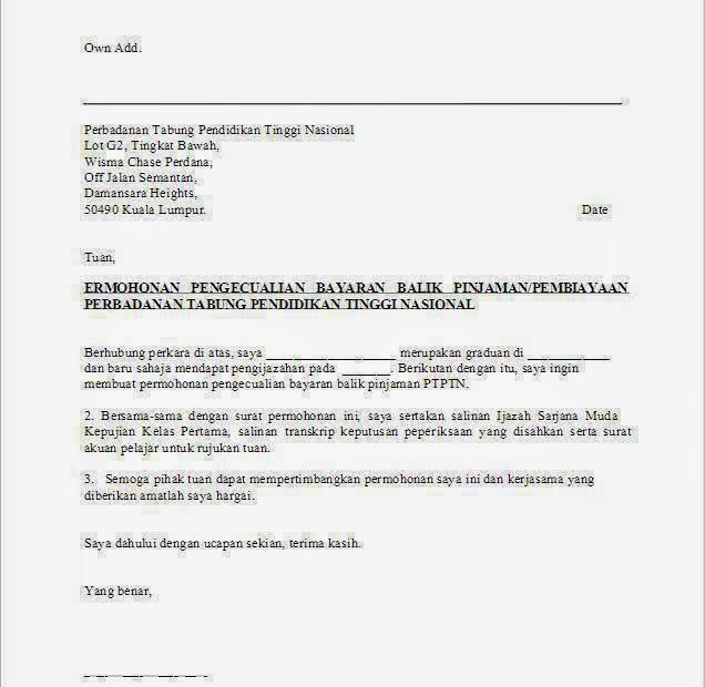 Surat Rasmi Permohonan Pengecualian Bayaran Surasm